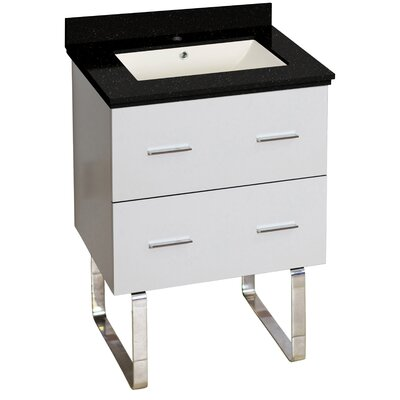 Hinerman 24 Single Bathroom Vanity Set Top Finish: Black Galaxy, Sink Finish: Biscuit, Faucet Mount: Single Hole