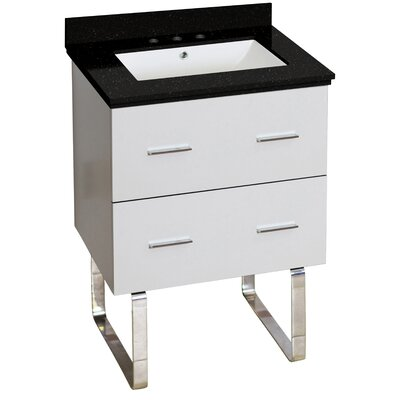 Hinerman 24 Single Bathroom Vanity Set Top Finish: Black Galaxy, Sink Finish: White, Faucet Mount: 8 Centers