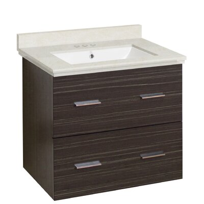 Hinerman 24 Wall-Mounted Single Bathroom Vanity Set Top Finish: Beige, Sink Finish: White, Faucet Mount: 4 Centers