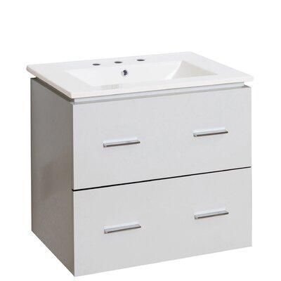 Hinerman 24 Wall-Mounted Single Bathroom Vanity Set Faucet Mount: 8 Centers, Base Finish: White