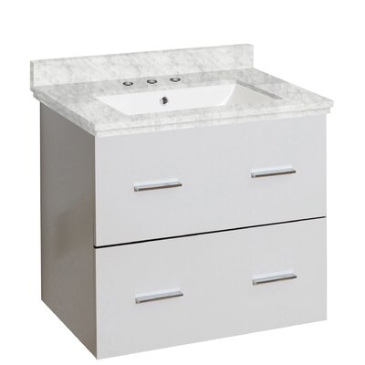 Hinerman 24 Wall-Mounted Single Bathroom Vanity Set Top Finish: Bianca Carrara, Sink Finish: White, Faucet Mount: 8 Centers