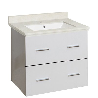Hinerman 24 Wall-Mounted Single Bathroom Vanity Set Top Finish: Beige, Sink Finish: White, Faucet Mount: Single Hole
