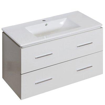 Hinerman 36 Wall-Mounted Single Bathroom Vanity Set Faucet Mount: Single Hole