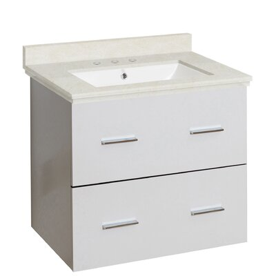 Hinerman 24 Wall-Mounted Single Bathroom Vanity Set Top Finish: Beige, Sink Finish: White, Faucet Mount: 8 Centers