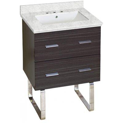 Hinerman 24 Single Bathroom Vanity Set Top Finish: Bianca Carrara, Sink Finish: White, Faucet Mount: 8 Centers