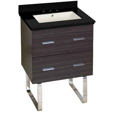 Hinerman 24 Single Bathroom Vanity Set Top Finish: Black Galaxy, Sink Finish: Biscuit, Faucet Mount: 8 Centers