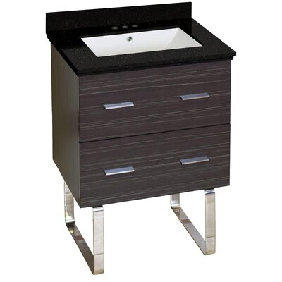 Hinerman 24 Single Bathroom Vanity Set Top Finish: Black Galaxy, Sink Finish: White, Faucet Mount: 4 Centers