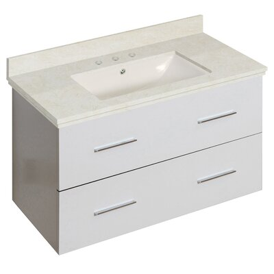Hinerman 36 Wall-Mounted Single Bathroom Vanity Set Top Finish: Beige, Sink Finish: Biscuit, Faucet Mount: 8 Centers