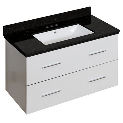 Hinerman 36 Wall-Mounted Single Bathroom Vanity Set Top Finish: Black Galaxy, Sink Finish: White, Faucet Mount: 4 Centers