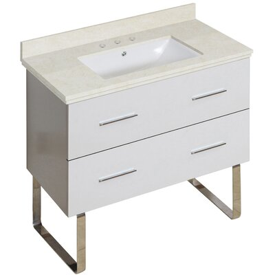 Hinerman 36 Single Bathroom Vanity Set Top Finish: Beige, Sink Finish: White, Faucet Mount: 8 Centers