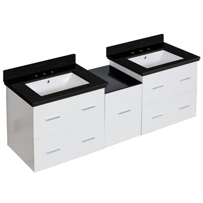 Hinerman 62 Wall-Mounted Double Bathroom Vanity Set Top Finish: Black Galaxy, Sink Finish: White, Faucet Mount: 8 Centers