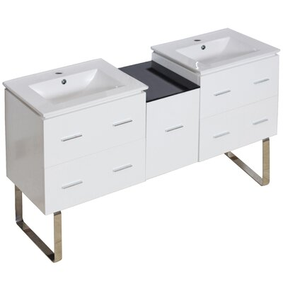 Hinerman 62 Double Bathroom Vanity Set Faucet Mount: Single Hole