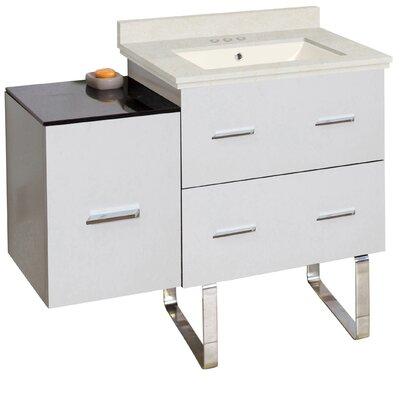 Hinerman 38 Single Bathroom Vanity Set Top Finish: Beige, Sink Finish: Biscuit, Faucet Mount: 4 Centers