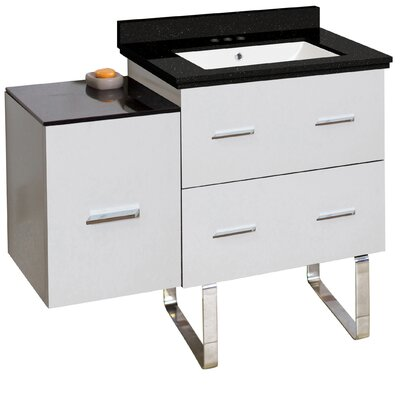 Hinerman 38 Single Bathroom Vanity Set Top Finish: Black Galaxy, Sink Finish: White, Faucet Mount: 4 Centers
