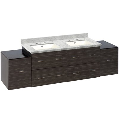 Hinerman 76 Wall-Mounted Double Bathroom Vanity Set Top Finish: Bianca Carrara, Sink Finish: Biscuit, Faucet Mount: 8 Centers