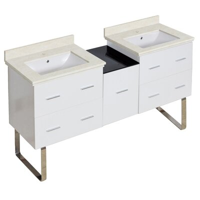 Hinerman 62 Double Bathroom Vanity Set Sink Finish: White, Faucet Mount: Single Hole, Top Finish: Beige