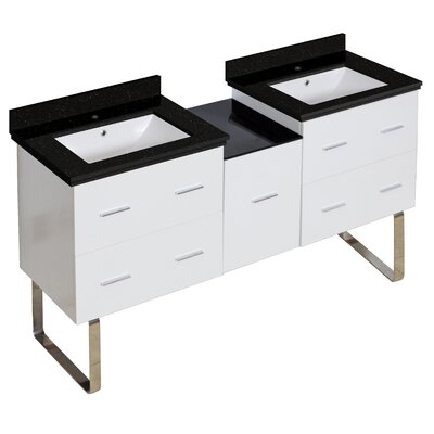 Hinerman 62 Double Bathroom Vanity Set Sink Finish: White, Faucet Mount: Single Hole, Top Finish: Black Galaxy