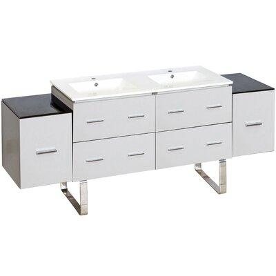 Hinerman 74 Double Bathroom Vanity Set Faucet Mount: Single Hole