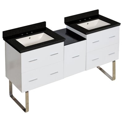 Hinerman 62 Double Bathroom Vanity Set Sink Finish: Biscuit, Faucet Mount: 8 Centers, Top Finish: Black Galaxy