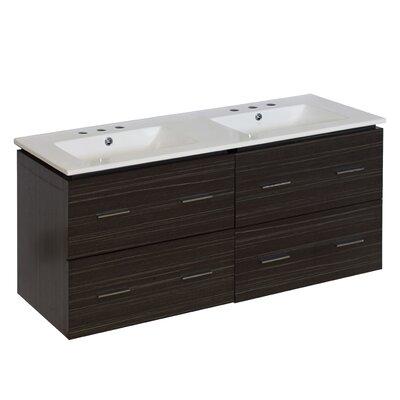 Hinerman 48 Wall-Mounted Double Bathroom Vanity Set Faucet Mount: 8 Centers