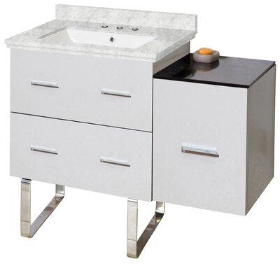 Hinerman 38 Single Bathroom Vanity Set Top Finish: Bianca Carrara, Sink Finish: White, Faucet Mount: 8 Centers