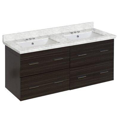 Hinerman 48 Wall-Mounted Double Bathroom Vanity Set Base/Top Finish: Dawn Gray/Bianca Carrara, Sink Finish: White, Faucet Mount: 4 Centers