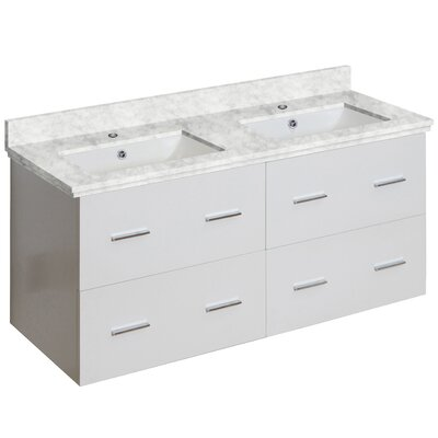 Hinerman 48 Wall-Mounted Double Bathroom Vanity Set Base/Top Finish: White/Bianca Carrara, Sink Finish: White, Faucet Mount: Single Hole