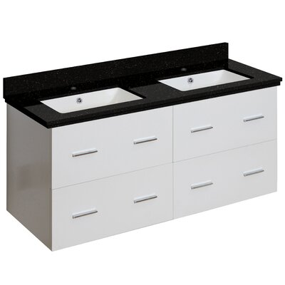 Hinerman 48 Wall-Mounted Double Bathroom Vanity Set Base/Top Finish: White/Black Galaxy, Sink Finish: White, Faucet Mount: Single Hole