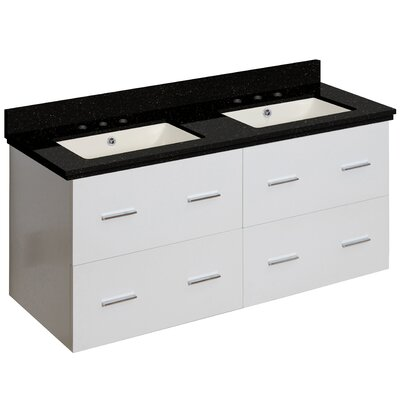Hinerman 48 Wall-Mounted Double Bathroom Vanity Set Base/Top Finish: White/Black Galaxy, Sink Finish: Biscuit, Faucet Mount: 8 Centers