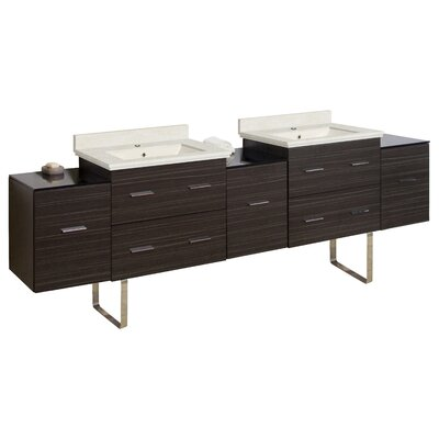 Hinerman 89 Double Bathroom Vanity Set Top Finish: Beige, Sink Finish: Biscuit, Faucet Mount: Single Hole