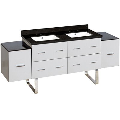 Hinerman 74 Double Bathroom Vanity Set Top Finish: Black Galaxy, Sink Finish: White, Faucet Mount: 8 Centers