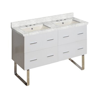 Hinerman 48 Double Bathroom Vanity Set Base/Top Finish: White/Bianca Carrara, Sink Finish: Biscuit, Faucet Mount: 8 Centers