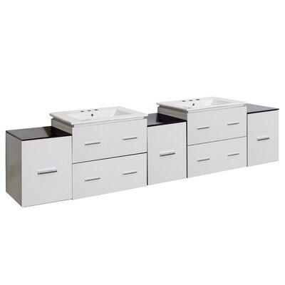 Hinerman 89 Wall-Mounted Double Bathroom Vanity Set Faucet Mount: 8 Centers