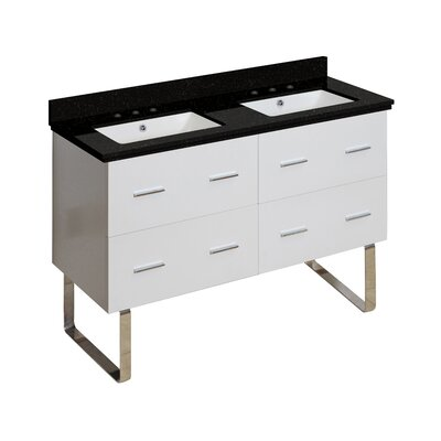 Hinerman 48 Double Bathroom Vanity Set Base/Top Finish: White/Black Galaxy, Sink Finish: White, Faucet Mount: 8 Centers