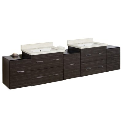 Hinerman 89 Wall-Mounted Double Bathroom Vanity Set Top Finish: Beige, Sink Finish: White, Faucet Mount: 8 Centers