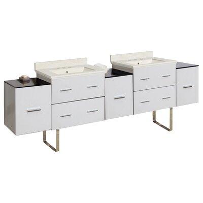 Hinerman 89 Double Bathroom Vanity Set Top Finish: Beige, Sink Finish: Biscuit, Faucet Mount: 8 Centers