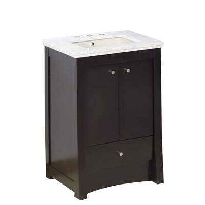 Vangundy 32 Single Bathroom Vanity Set Top Finish: Bianco Carrara, Sink Finish: Biscuit, Faucet Mount: 8 Centers