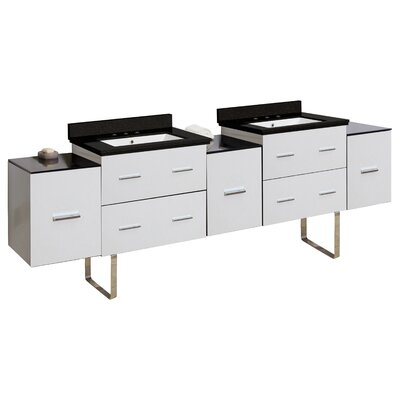 Hinerman 89 Double Bathroom Vanity Set Top Finish: Black Galaxy, Sink Finish: White, Faucet Mount: 8 Centers