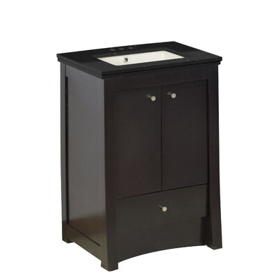 Vangundy 32 Single Bathroom Vanity Set Top Finish: Black Galaxy, Sink Finish: Biscuit, Faucet Mount: 4 Centers