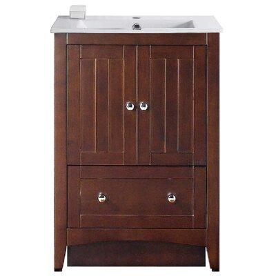 Riordan 24 Single Bathroom Vanity Set Faucet Mount: Single Hole, Base Finish: Walnut