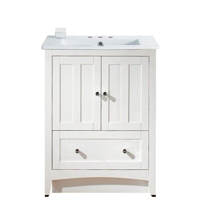 Riordan 30 Single Bathroom Vanity Set Base Finish: White, Faucet Mount: 8 Centers