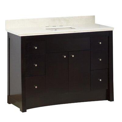 Vangundy 48 Single Bathroom Vanity Set Base/Top Finish: Antique Walnut/Beige, Sink Finish: Biscuit, Faucet Mount: 8 Centers