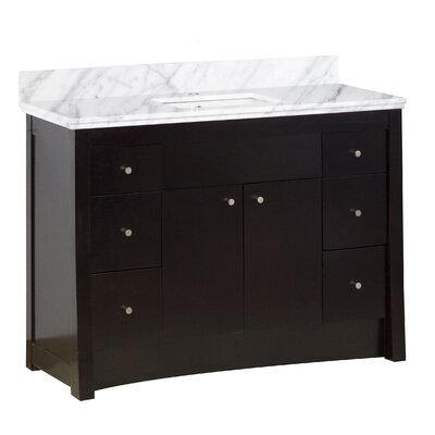 Vangundy 48 Single Bathroom Vanity Set Base/Top Finish: Antique Walnut/Bianca Carrara, Sink Finish: White, Faucet Mount: Single Hole