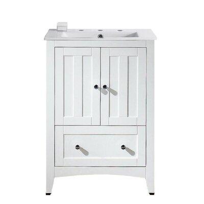 Riordan 24 Single Bathroom Vanity Set Faucet Mount: 8 Centers, Base Finish: White