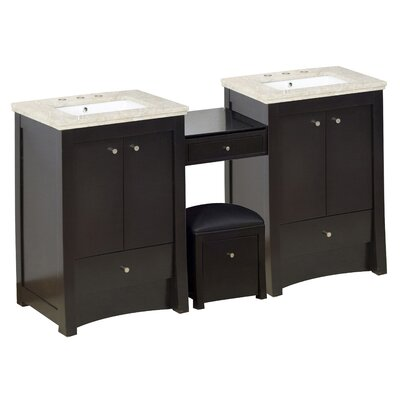 Vangundy 85Double Bathroom Vanity Set Top Finish: Beige, Sink Finish: White, Faucet Mount: 8 Centers