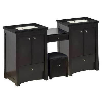 Vangundy 69 Double Bathroom Vanity Set Top Finish: Black Galaxy, Sink Finish: Biscuit, Faucet Mount: Single Hole