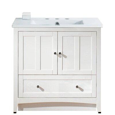 Riordan 36 Single Bathroom Vanity Set Faucet Mount: 8 Centers, Base Finish: White