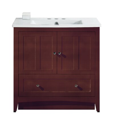 Riordan 36 Single Bathroom Vanity Set Faucet Mount: 4 Centers, Base Finish: Walnut