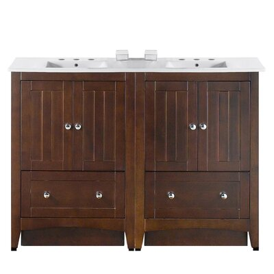 Riordan 48 Double Bathroom Vanity Set Faucet Mount: 8 Centers, Base Finish: Walnut