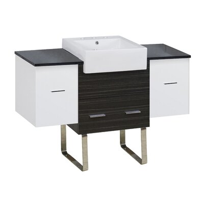 Hindman 51 Single Bathroom Vanity Set Base Finish: White/Dawn Gray, Faucet Mount: 8 Centers